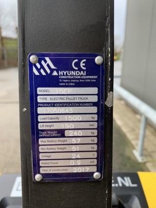 www.gebruikteheftrucks.net Hyundai 15EP elektrische palletwagen pompwagen 1500kg 3